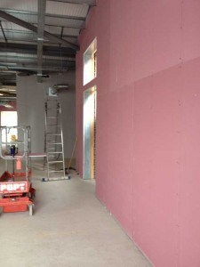 Pink Partition Wall in new unit