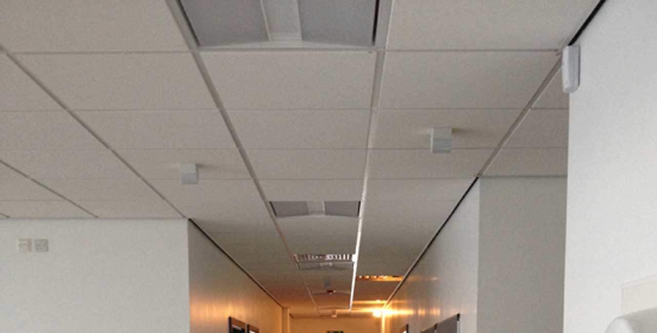 ceiling tiles installed in an office